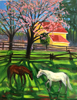 Horses with Plum Tree and Yellow Cabin